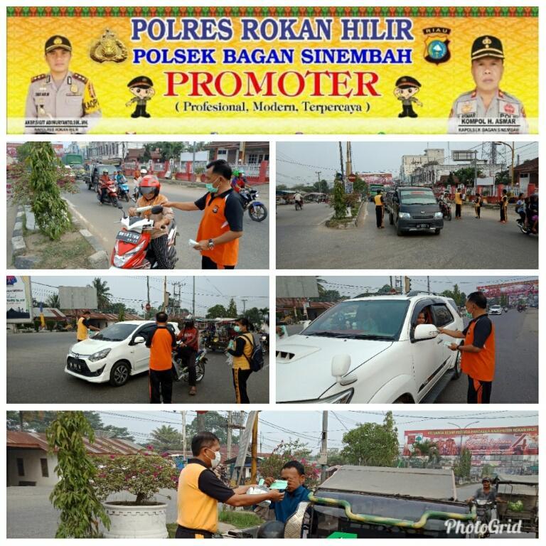 Polsek Bagan Sinembah kembali melakukan pembagian masker kepada pengguna jalan