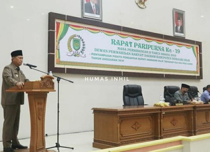 Wakil Bupati Indragiri Hilir Menyampaikan KUA PPAS dan PPAS dan RAPBD 2020