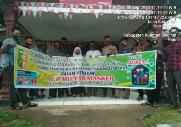 Polsek Cerenti dan Pemdes Koto Inuman Salurkan Masker kepada Masyarakat Desa