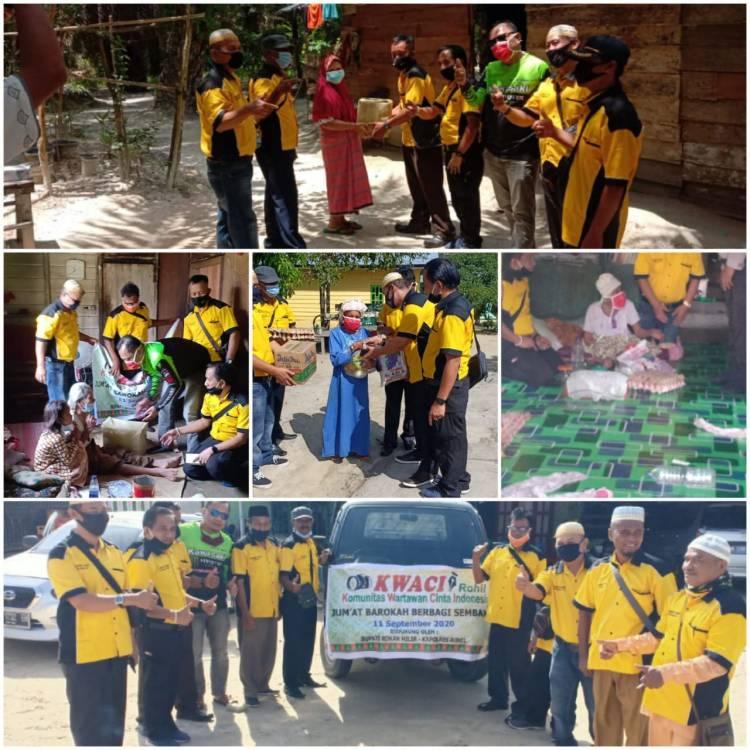 Jumat Barokah, KWACI Rohil Salurkan 30 Paket Sembako dan Masker