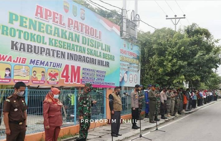 Bupati Inhil Diwakili Pj Sekda H Fauzar Meminpin Apel Patroli Berskala Besar Penerapan Penegakan Disiplin Covid 19