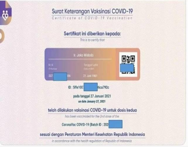 Sertifikat Vaksin Jokowi Bocor,Ini Kata Kementerian Kominfo