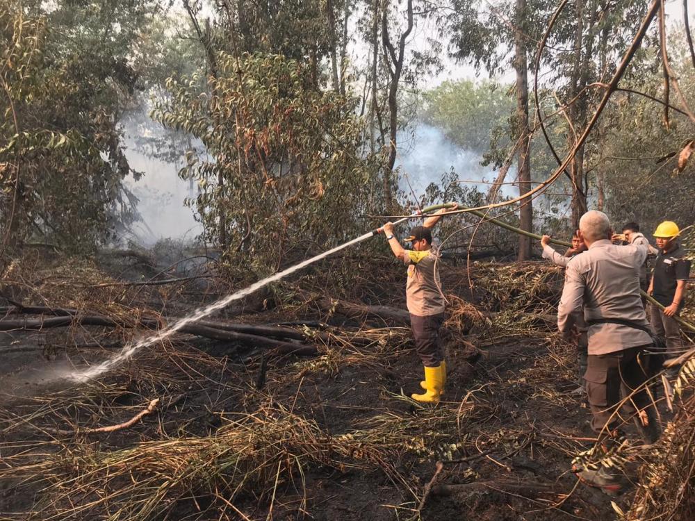 Totalitas Tiada Batas AKP Martunus, 4 Hari Bertahan Padamkan Api Karhutla di Desa Kayu Raja, Keritang