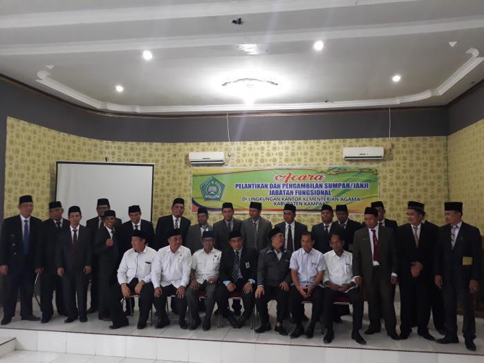 Pelantikan Dan Pengambilan Sumpah /janji Jabatan Fungsional Lingkungan Kantor Kementrian Agama  Kabupaten Kampar
