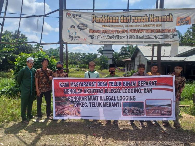 Masyarakat Desa Teluk Binjai Pelalawan Tolak Aktivitas Illegal Logging dan Bongkar Muat