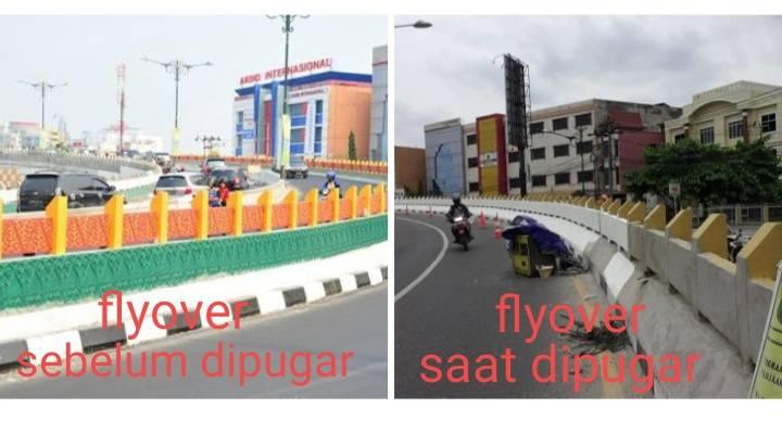 Ornamen Melayu Dibongkar,  Wajah Baru Dua Flyover di Jalan Sudirman Hanya Dicat Tiga Warna