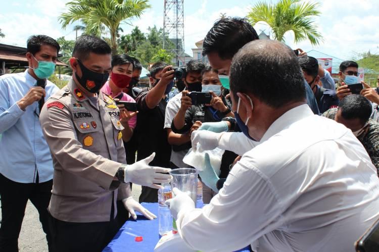 Polres Inhil Musnahkan BB Narkotika Jenis Sabu dan Pil Ekstasi