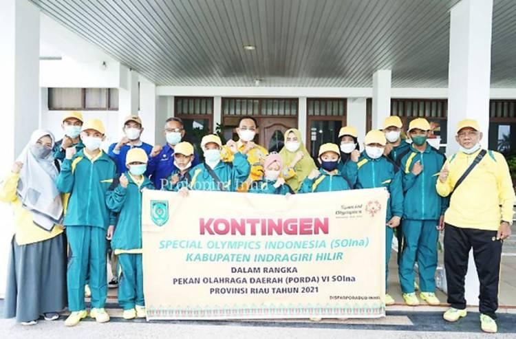 Diiringi Doa, Bupati Inhil HM.Wardan Lepas 8 Orang Atlet SOIna Inhil Ikuti Porda VI Riau Tahun 2021