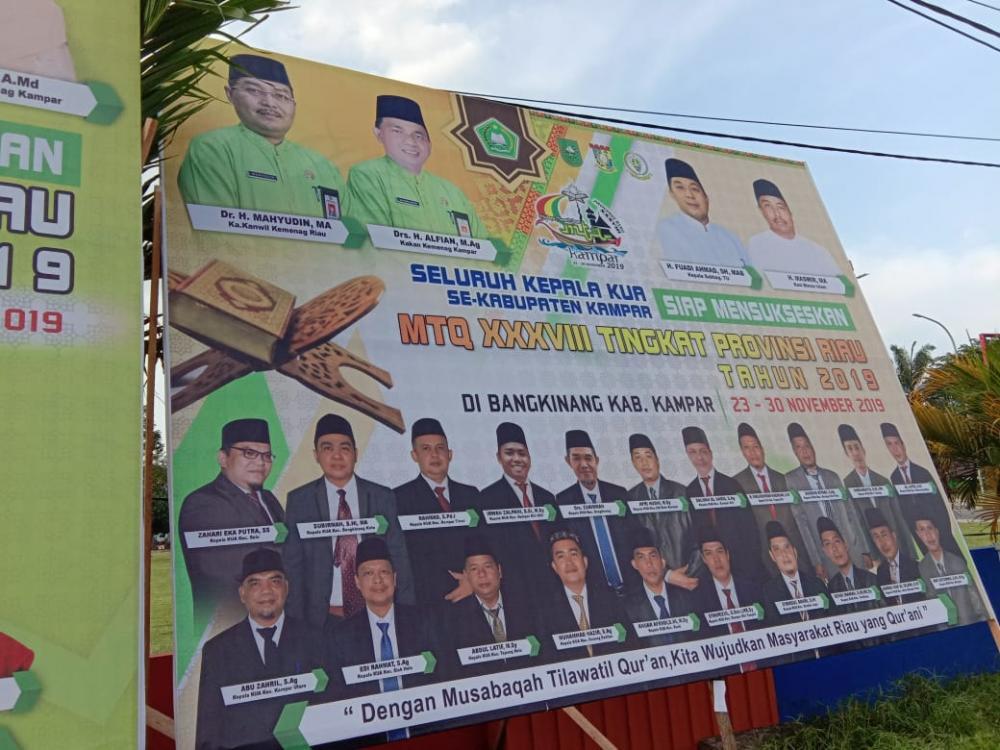 Sukeskan MTQ Tingkat Prov. Riau, Kemenag Kampar Pasang Belasan Baliho Dan Puluhan Spanduk