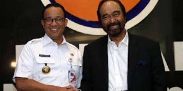 Ketua Umum Partai Nasdem Surya Paloh Memberi Panggung Pada Gubernur DKI Jakarta Anies Baswedan