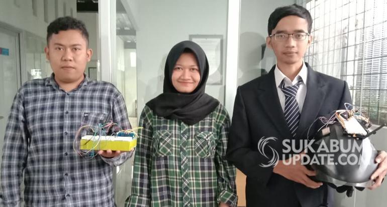 Tiga Mahasiswa Universitas NUSA Putra Melakuakan Penelitian Helm Cerdas untuk Keamanan Sepeda Motor Berbasis Internet of Thing (IoT).