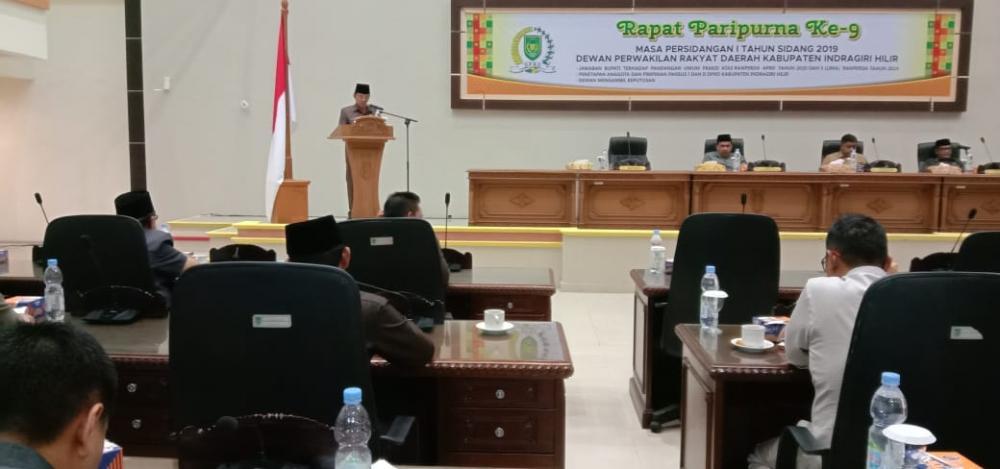 Rapat Paripurna Ke 9 DPRD Dengan Bupati Inhil HM Wardan Tentang Pandangan Umum Fraksi APBD 2020
