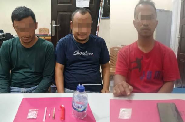 3 Tersangka Diciduk Resnarkoba Polres Kampar disebuah Pondok di Desa Tanjung Koto Kampar Hulu