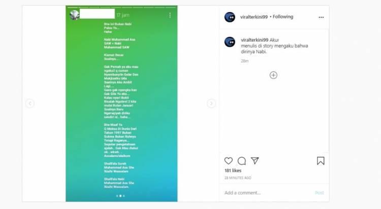 AA Menggemparkan Pengguna Instagram Mengklaim Dirinya Titisan Nabi Muhammad SAW