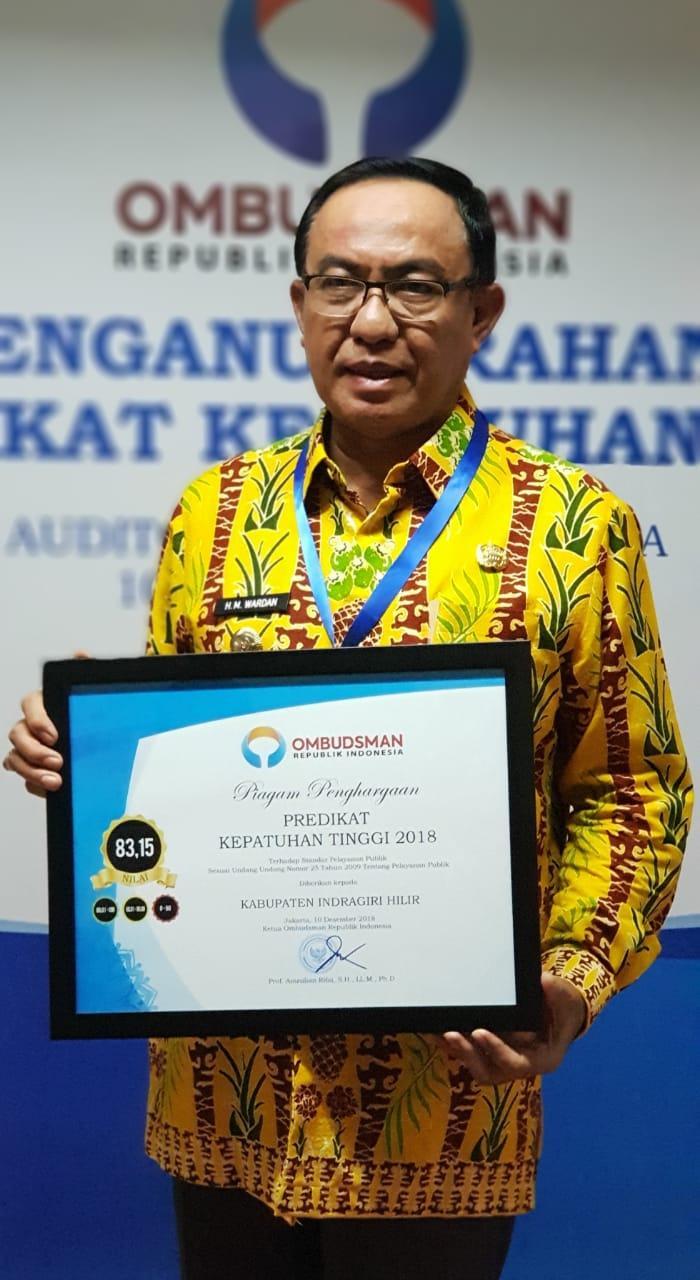 Kabupaten Inhil Terima Anugerah Predikat Kepatuhan Tinggi 2018 Ombudsman RI
