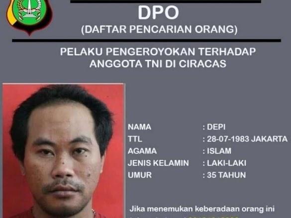 Tampang Depi, Buron Pengeroyok Anggota TNI di Ciracas