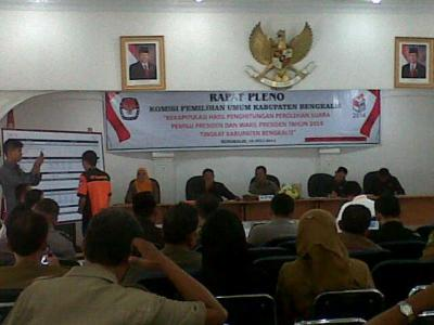 Hasil Pleno KPU Kabupaten Bengkalis, Prabowo- Hatta 45,30 %, Jokowi� JK 54,70 %