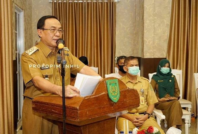 Bupati HM Wardan Vidcon Dengan 19 Kecamatan Di Inhil Tentang Indek Desa Membangun